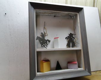 Grey Picture Frame Shelf, Rustic, Wall Decor