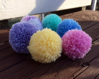 Easter cat toys, pom pom cat toys, set of 6, pink purple blue green yellow and multi color