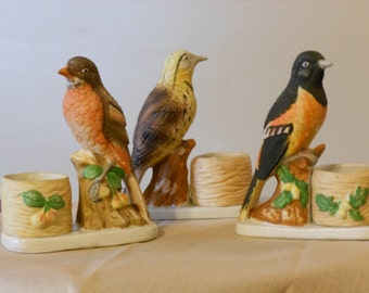 Vintage Luvkin Songbirds Candle Holders (1979)