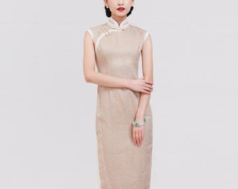 Casual Linen Qipao Polka Dot Print W/ Lace Binding Two Color Options