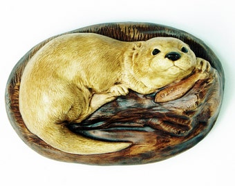 Pottery River Otter  - Pottery Wall Plaques - Fresh Water Otters - M.J.C Pottery - Pottery - Porcelain - 1940s - 1950s