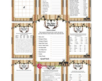 Family Deer Baby Shower Game Set - Woodland Burlap Baby Shower - INSTANT DOWNLOAD - DIY Printable (High-Res Jpeg)