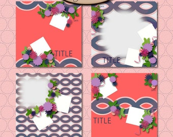 Digital Scrapbook: Layout Template, BFF Template Set
