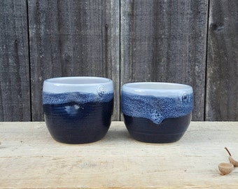 Handmade ceramic cups, coffee, tea, whisky tumbler. Inky blue and lavender with dimples. Valentines offer- free heart decoration