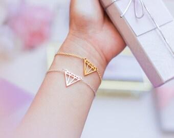 SALE 50% OFF Diamond Shape  Bracelet, Gold Bracelet, Silver Bracelet, Bridal Shower Gift, Gift for Bride, Bride to be gift,Bachelorette