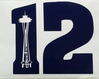 12 with Spaceneedle Vinyl Car Decal