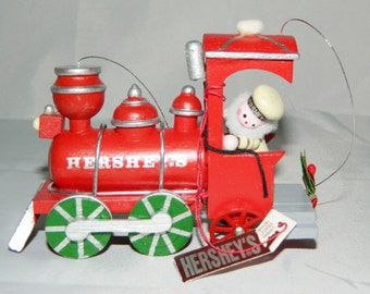Kurt Adler 1986 Hershey's Ornament Red Train Engine Wood Christmas Locomotive