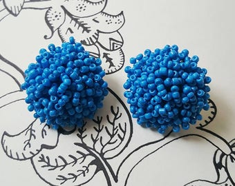 Orecchini Earrings Turquoise Beads Clip 1940's 1950's Pin Up Rockabilly Style Vintage Inspired