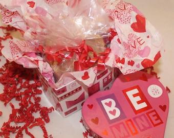 Handmade Heart Shaped Soap/Two Almond Sugar Cookies Heart Shaped Soaps in a Heart Shape Gift Box/Valentine Cookie Heart Soaps/Almond Soap/