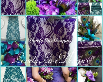 "Peacock Weddings /Purple/Teal/Green Lace Table Runners,3ft-10ft x 7"" Wide/Weddings/Wedding Decor/Overlay/wedding centerpiece"
