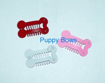 Puppy Bows ~Barrette snap clip CROWNS or BONES  girl and boy colors shape bow dog Shih Tzu ~Usa seller