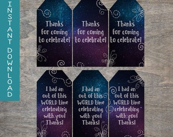 Galaxy Thank you Gift Tags | Outer Space Celestial Glow Tween Birthday Goody Bag labels Cosmic | INSTANT DOWNLOAD