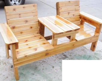 Double Seat Bench With Table Woodworking Plans