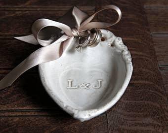 custom baroque heart ring holder dish personalized ring dish engagement ring dish ring