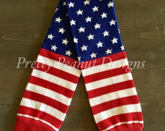 Patriotic American Flag Baby Leg Warmers - Baby Leg Warmers - Red White and Blue - Stars and Stripes