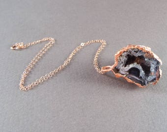 Raw Druzy Geode Half Necklace Copper and Rose Gold