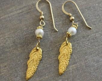 Gold Leaf and  Pearl Earrings - Leaf Earrings- Gifts under 30 dollars- Dangle Earrings- Gold Earrings - Bohemian Earrings