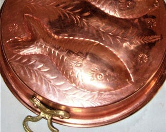 Copper Mold, Copper Mold with 2 Fish and Brass Handles, Embossed Vintage Copper Mold, French Country Kitchen Decor