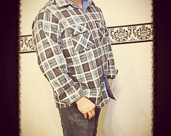1950's Blue Plaid Flannel Shirt by Sears Fieldmaster, 60's Blue Plaid Jacket, Large, XL, Men's Hipster Flannel, 1960's Men's Grunge Flannel