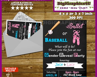 Gender Reveal Baseball or Ballet Party Invitation, He or She, Pink or Blue, Boy or Girl - Printable Personalized  File