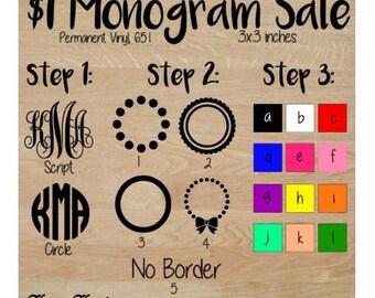 Monogram, 3x3 651, permanent vinyl, decal, dollar