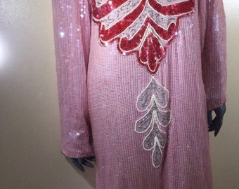 Vintage Sequin Dress * Pink & Red * 1980's * Flapper Style * Ornate * Stylish * Avante Garde * Burlesque * 100% Silk * Made in India * Size