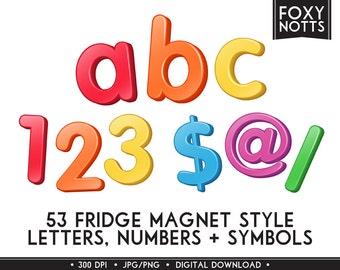 3D Rainbow Fridge Magnet style Alphabet & Numbers: Digital Download, Clip Art, Scrapbooking, Printable, Graphics, Letters, Font