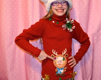 Youth Large, (12), Ugly Christmas Sweater, personalize, skinny 12 year old, girls, kids, turtleneck