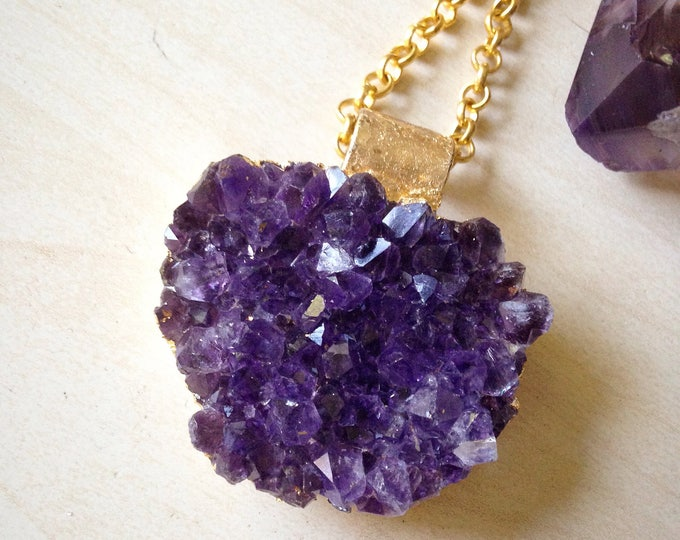 Amethyst cluster with gold leaf necklace, Amethyst Druzy Necklace, Amethyst Druse Jewelry