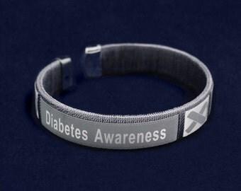 Diabetes Awareness Bangle Bracelet in a Bag (1 Bracelet - Retail)(RE-B-22-7DB)