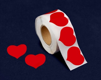 500 Red Heart Shaped Large Stickers (500 Ct) (DST-HRT)