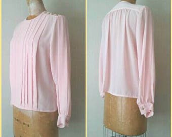Pleated Pink Vintage Blouse, Classic Career Blouse, 1980s Pink Blouse, Small Petite Pink Blouse, Pleated Blouse, Small Pink Top, 1980s Top
