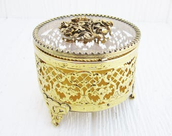 Vintage Jewelry Box, Filigree Jewelry Casket Box with Glass Lid, Ormolu Jewelry Box Storage, Vintage Vanity, Hollywood Regency