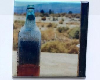 "Desert 40 Magnet - 2""x2"", Original Photograph by EyeWatch Photo, Fine Art Photography, Urban Photography, Abandoned, Glass Bottle, Mix any 4"