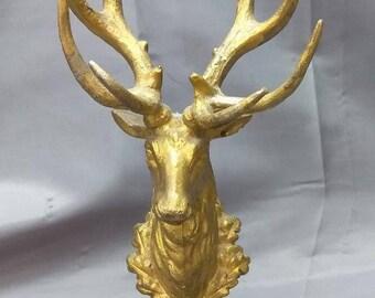 Old Vintage Metal Deer Head Mounted on a Wooden Base Vintage Retro Statue