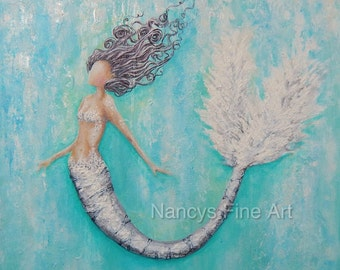 Abstract teal mermaid art, original mermaid painting, square silver mermaid on deep canvas wall artwork by Nancy Quiaoit