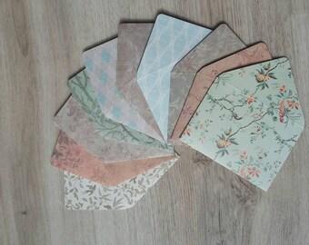 Ensemble de 10 enveloppes Mini avec cartes de correspondance, source d'inspiration Vintage