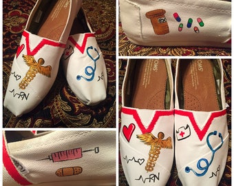 Custom made Nursing/RN Toms. Designed and personalized just for you!