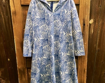 Vintage 60's Blue and White Fern Novelty Print Long Sleeve Midi Dress by The Kollection