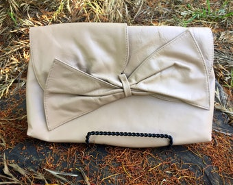 Super Cute Tope/khaki/Stone Color Large Bow Clutch by Albi
