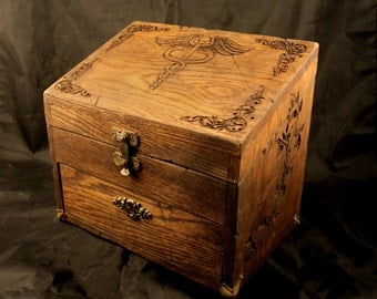 Oak Apothecary, Oils or Herbalist Case - Vintage Reproduction.