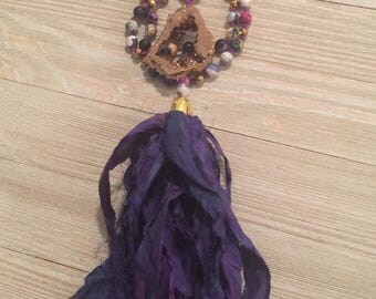 "Hand knotted beaded sari silk tassel necklace~gold geode druzy connector~multi-agate~pyrite beads 25.5""=51"""