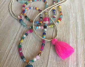 "Semi-precious stone Love bead & tassel necklace~petite solar agate pendant~S925 chalcedony connector~32"" bead~29"" tassel"