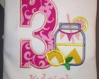 Third Birthday Shirt, Pink Lemonade Shirt, 3rd Birthday Shirt, Pink Lemonade, Summer Shirt, Birthday Party Shirt, Girls 3rd Birthday Shirt,