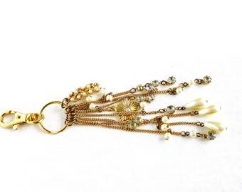 keychain, vintage, keyring, bag charm, gold, chrystal bag pendant, bag dangler, bagcharm, bag accessories, gift women, party favor