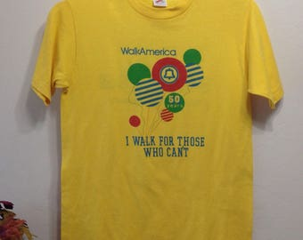 Vintage Yellow Southern Bell Walk America T-Shirt - 'I Walk For Those Who Can't' Walk America T-Shirt - Walk America T-Shirt M