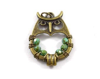 1 Large Beaded Antique Brass Open Owl Pendant, Owl Pendant, Beaded Owl Pendant, Metal Owl Pendant, Brass Pendant,Brass Owl Pendant,Turquoise
