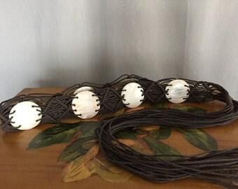 Tie Tassle Belt Vintage Distressed Woven Shells