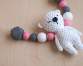 Teddy bear Teething Necklace Baby toy Nursing Necklace Newmom gift Teether Silicone beads Silicone jewelry chewelry kangaroo care toy