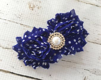 Women's Barrette - Royal Blue Shabby Flower Barrette -Rhinestone Hair Barrette for Teens -Polka Dot Flower Hair Clip Barrette for Girls